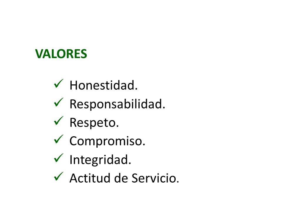 VALORES Honestidad. Responsabilidad. Respeto. Compromiso. Integridad. Actitud de Servicio.