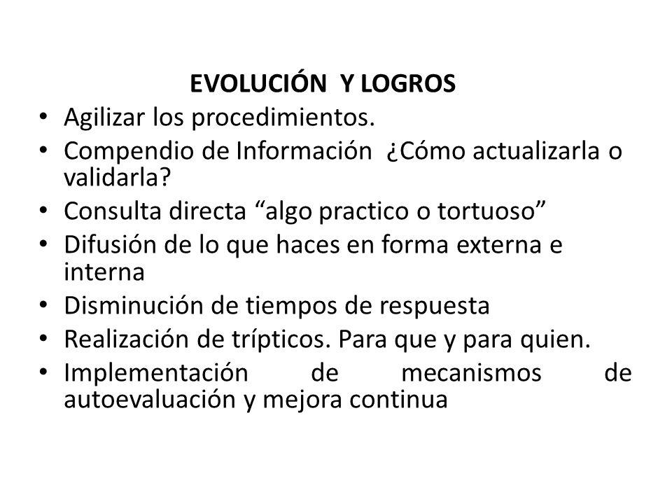 EVOLUCIÓN Y LOGROS Agilizar los procedimientos. Compendio de Información ¿Cómo actualizarla o validarla? Consulta directa algo practico o tortuoso Dif