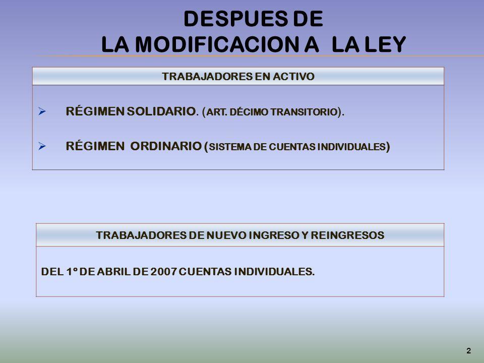DESPUES DE LA MODIFICACION A LA LEY TRABAJADORES EN ACTIVO RÉGIMEN SOLIDARIO. ( ART. DÉCIMO TRANSITORIO ). RÉGIMEN ORDINARIO ( SISTEMA DE CUENTAS INDI