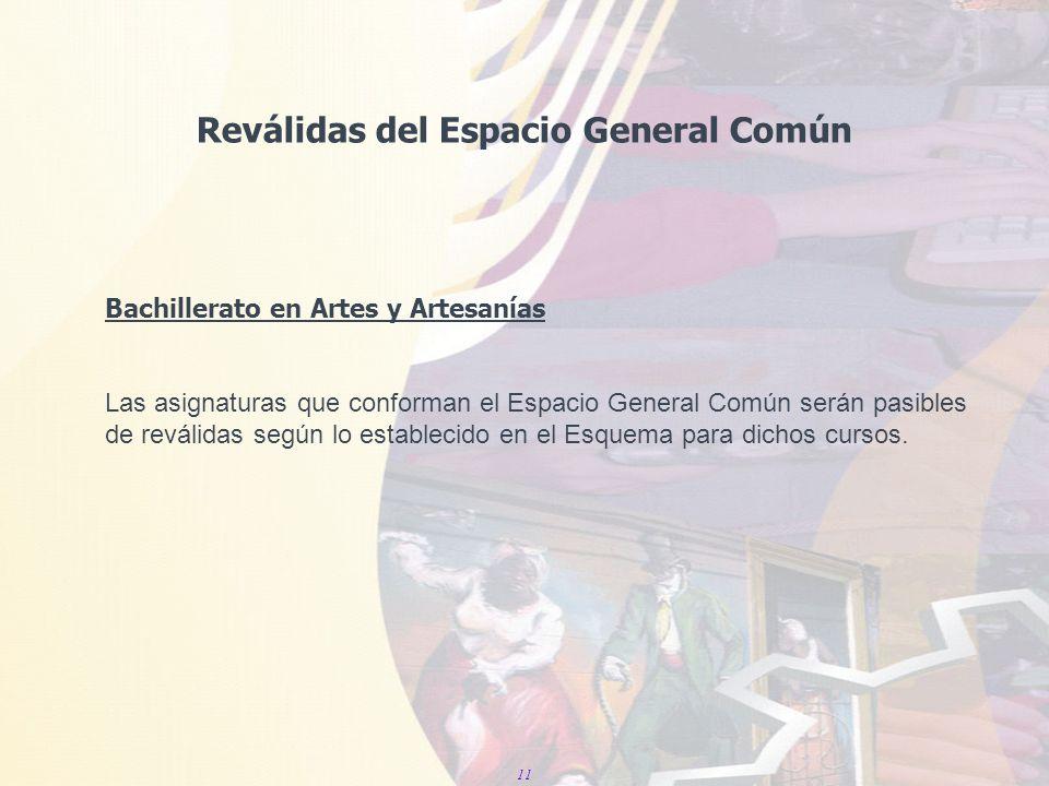 11 Reválidas del Espacio General Común Bachillerato en Artes y Artesanías Las asignaturas que conforman el Espacio General Común serán pasibles de reválidas según lo establecido en el Esquema para dichos cursos.