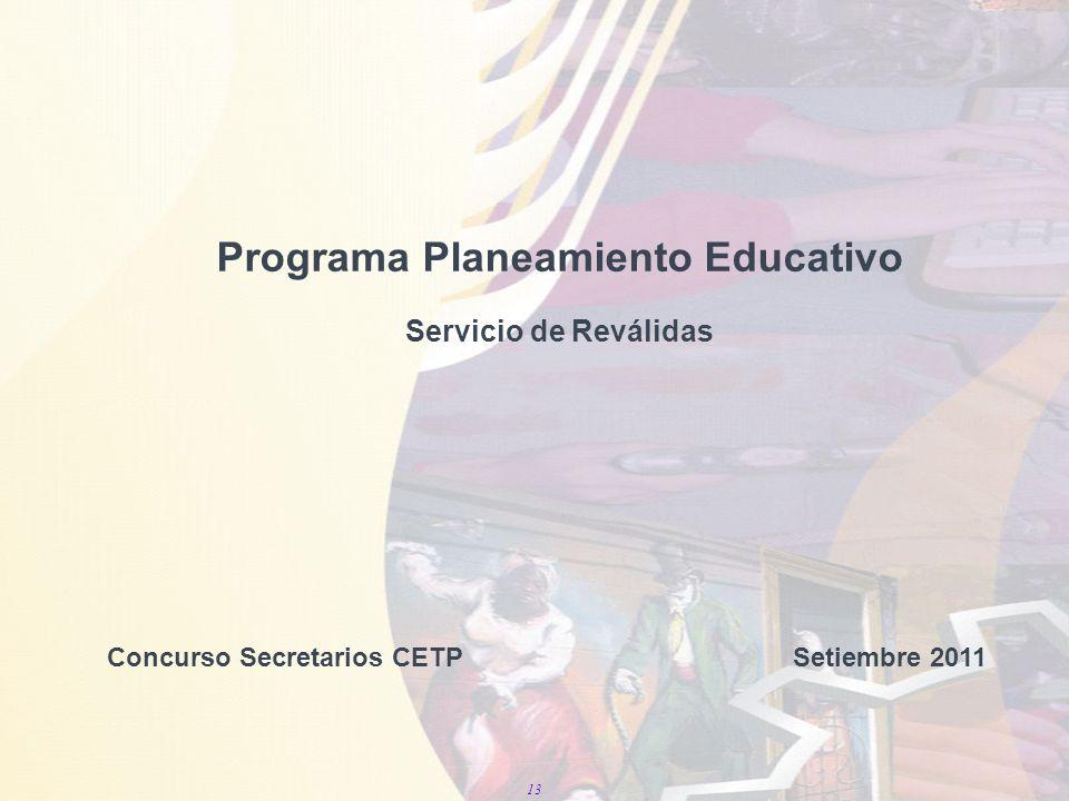 13 Programa Planeamiento Educativo Servicio de Reválidas Concurso Secretarios CETP Setiembre 2011