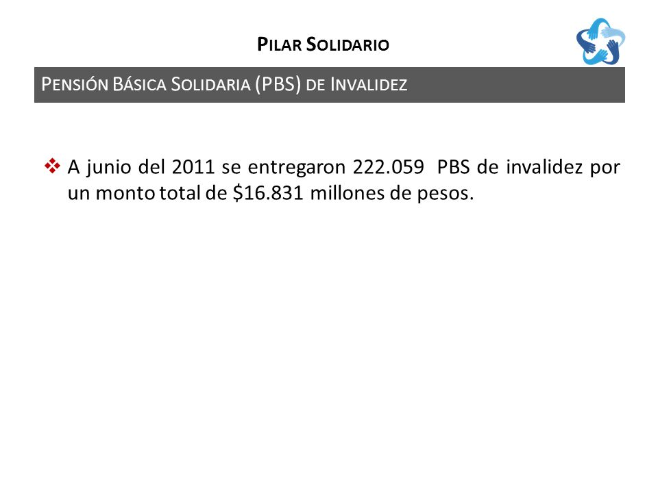 P ENSIÓN B ÁSICA S OLIDARIA (PBS) DE I NVALIDEZ P ILAR S OLIDARIO A junio del 2011 se entregaron 222.059 PBS de invalidez por un monto total de $16.831 millones de pesos.