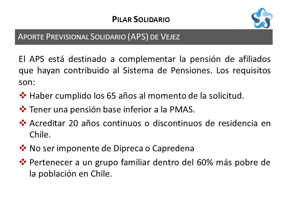 A PORTE P REVISIONAL S OLIDARIO (APS) DE V EJEZ P ILAR S OLIDARIO El APS está destinado a complementar la pensión de afiliados que hayan contribuido al Sistema de Pensiones.