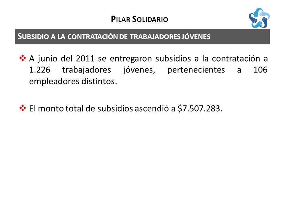 S UBSIDIO A LA CONTRATACIÓN DE TRABAJADORES JÓVENES P ILAR S OLIDARIO A junio del 2011 se entregaron subsidios a la contratación a 1.226 trabajadores jóvenes, pertenecientes a 106 empleadores distintos.
