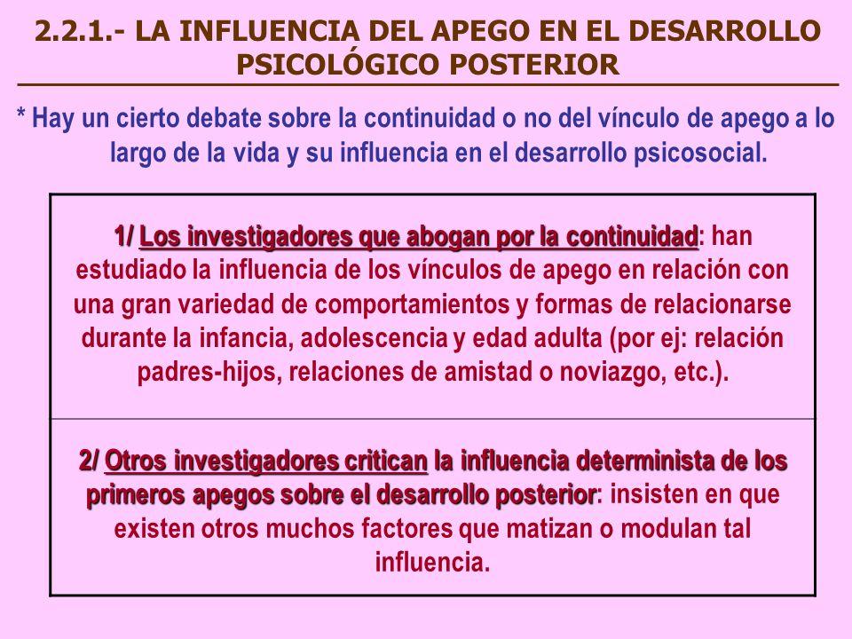 2.2.1.- LA INFLUENCIA DEL APEGO EN EL DESARROLLO PSICOLÓGICO POSTERIOR * Hay un cierto debate sobre la continuidad o no del vínculo de apego a lo larg