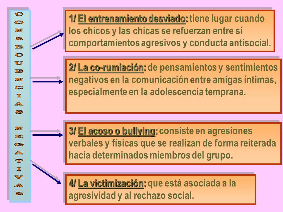 1/ El entrenamiento desviado: 1/ El entrenamiento desviado: tiene lugar cuando los chicos y las chicas se refuerzan entre sí comportamientos agresivos y conducta antisocial.