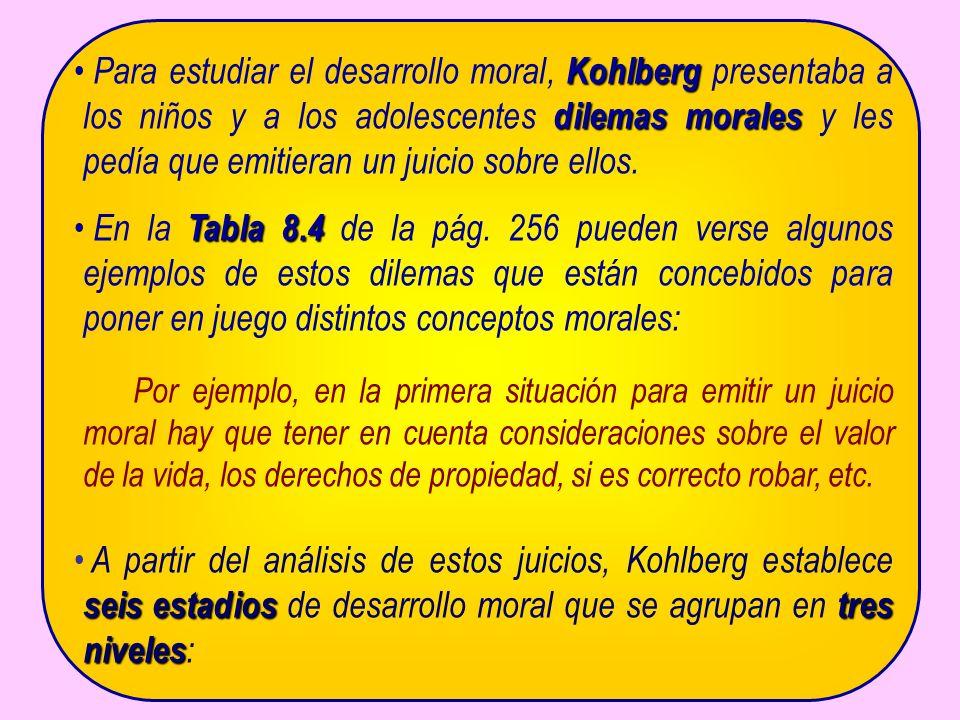 Kohlberg dilemas morales Para estudiar el desarrollo moral, Kohlberg presentaba a los niños y a los adolescentes dilemas morales y les pedía que emitieran un juicio sobre ellos.