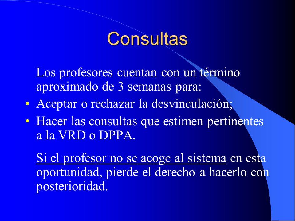 Consultas Los profesores cuentan con un término aproximado de 3 semanas para: Aceptar o rechazar la desvinculación; Hacer las consultas que estimen pertinentes a la VRD o DPPA.