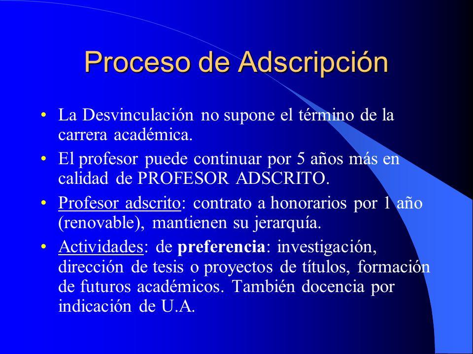 Proceso de Adscripción La Desvinculación no supone el término de la carrera académica.