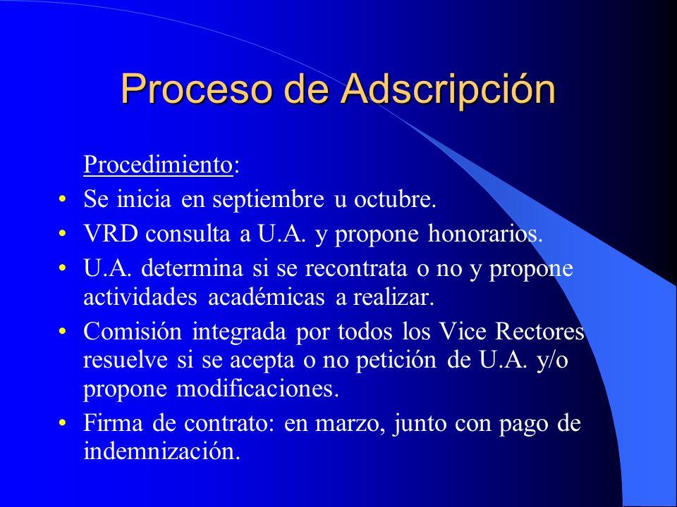 Proceso de Adscripción Honorarios a percibir: a)10% BC indemnización; b)30% BC indemnización, si se realiza docencia.