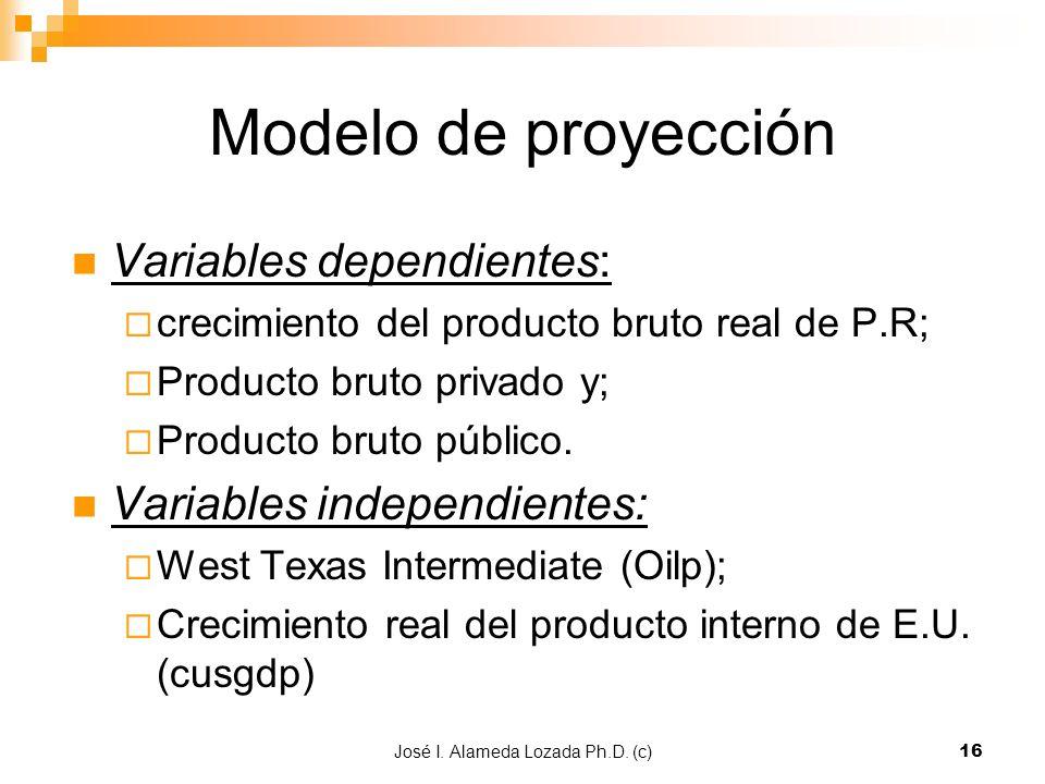 José I. Alameda Lozada Ph.D. (c)16 Modelo de proyección Variables dependientes: crecimiento del producto bruto real de P.R; Producto bruto privado y;