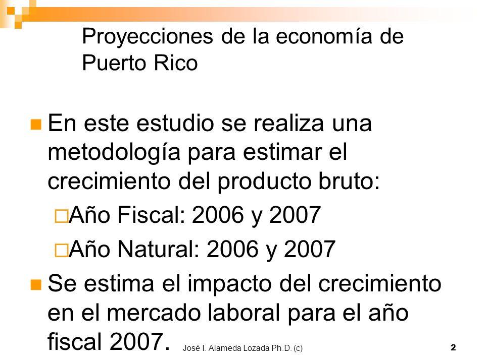 José I. Alameda Lozada Ph.D. (c)2 Proyecciones de la economía de Puerto Rico En este estudio se realiza una metodología para estimar el crecimiento de