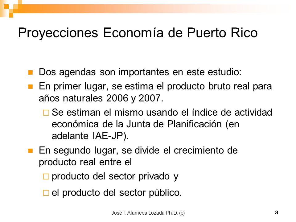 José I. Alameda Lozada Ph.D. (c)3 Proyecciones Economía de Puerto Rico Dos agendas son importantes en este estudio: En primer lugar, se estima el prod