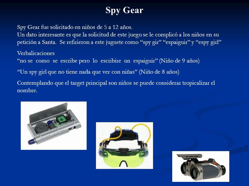Spy Gear Spy Gear fue solicitado en niños de 5 a 12 años. Un dato interesante es que la solicitud de este juego se le complicó a los niños en su petic