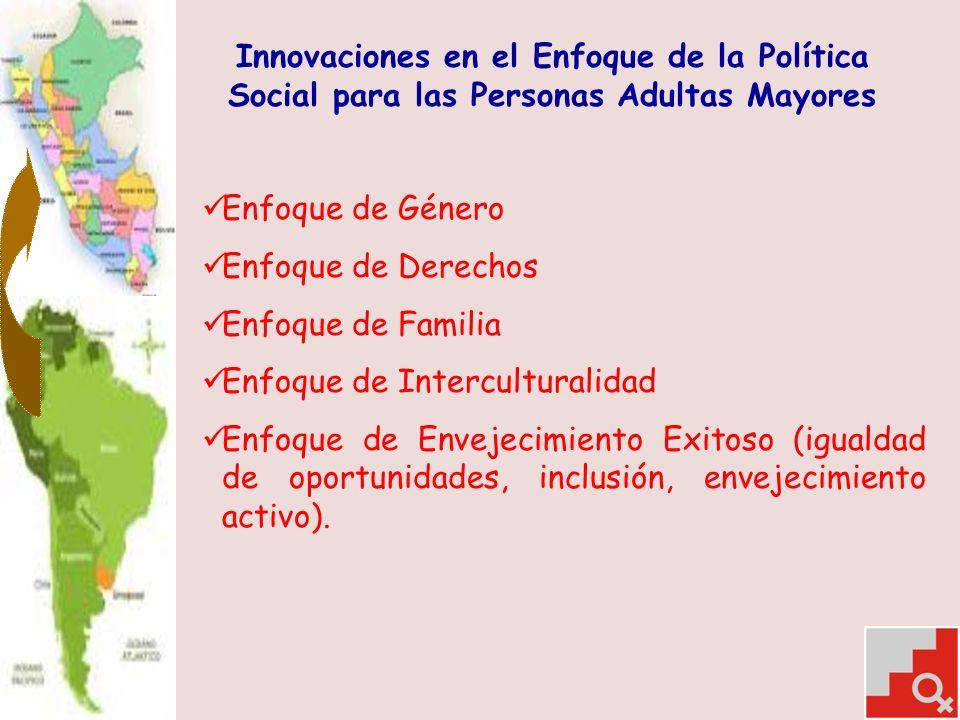 Innovaciones en el Enfoque de la Política Social para las Personas Adultas Mayores Enfoque de Género Enfoque de Derechos Enfoque de Familia Enfoque de Interculturalidad Enfoque de Envejecimiento Exitoso (igualdad de oportunidades, inclusión, envejecimiento activo).