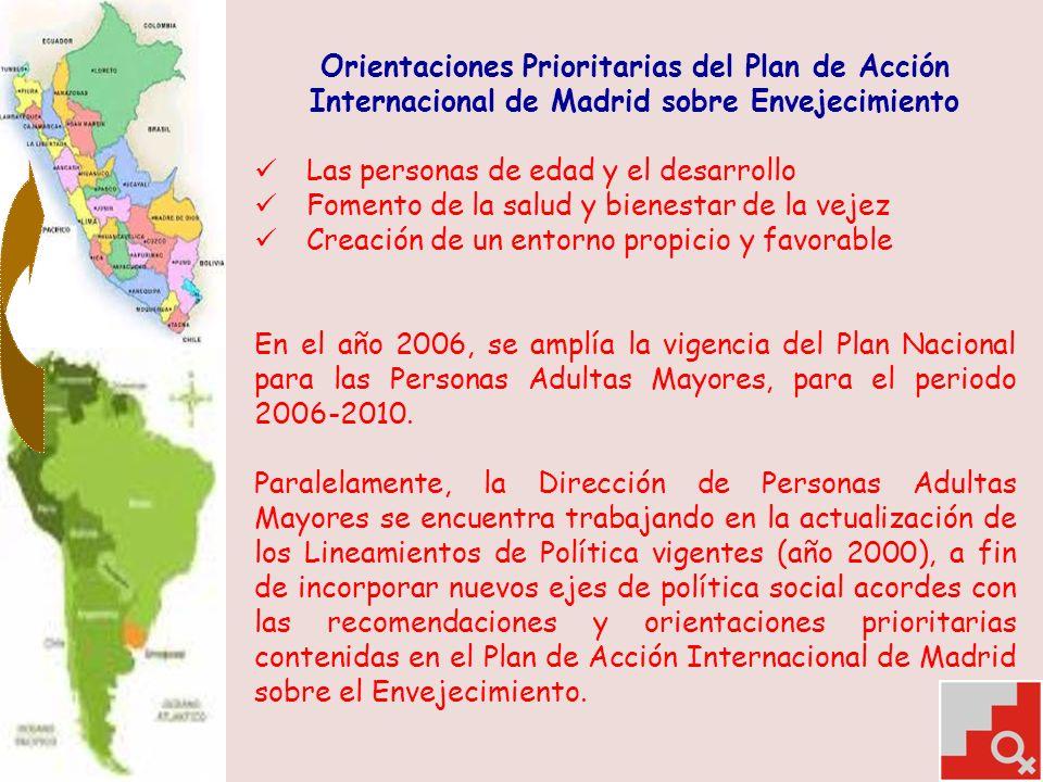 Orientaciones Prioritarias del Plan de Acción Internacional de Madrid sobre Envejecimiento Las personas de edad y el desarrollo Fomento de la salud y bienestar de la vejez Creación de un entorno propicio y favorable En el año 2006, se amplía la vigencia del Plan Nacional para las Personas Adultas Mayores, para el periodo 2006-2010.