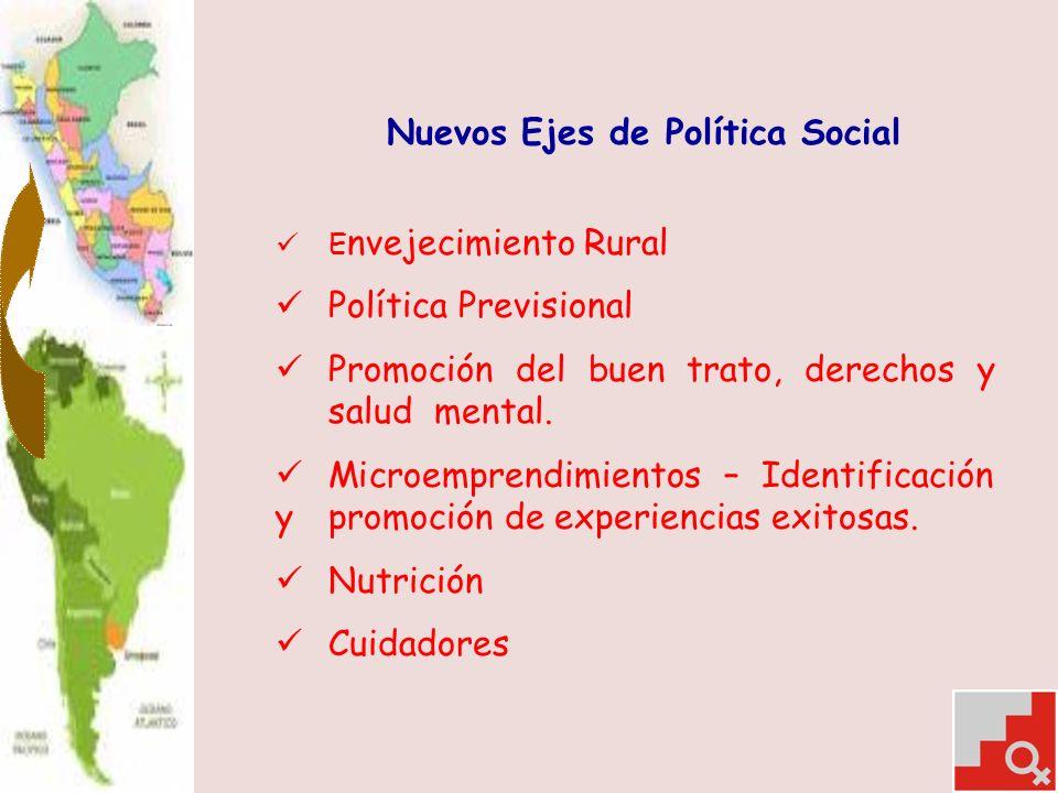 Nuevos Ejes de Política Social E nvejecimiento Rural Política Previsional Promoción del buen trato, derechos y salud mental.