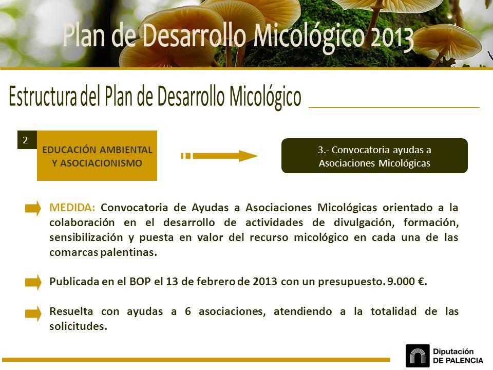 EDUCACIÓN AMBIENTAL Y ASOCIACIONISMO 2 3.- Convocatoria ayudas a Asociaciones Micológicas MEDIDA: Convocatoria de Ayudas a Asociaciones Micológicas or