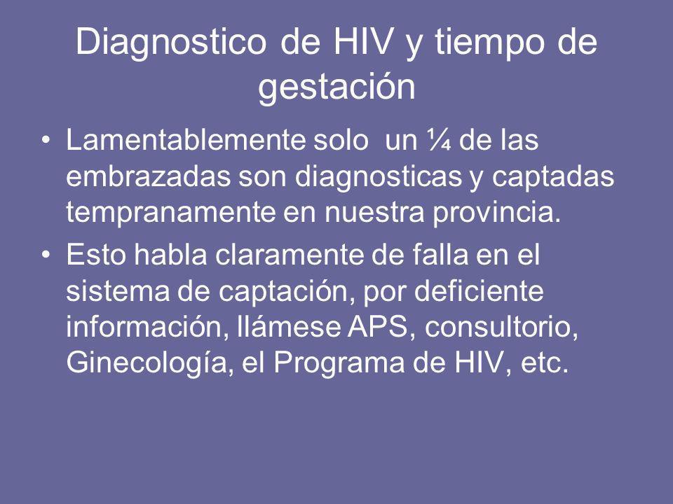 Diagnostico de HIV y tiempo de gestación Lamentablemente solo un ¼ de las embrazadas son diagnosticas y captadas tempranamente en nuestra provincia. E