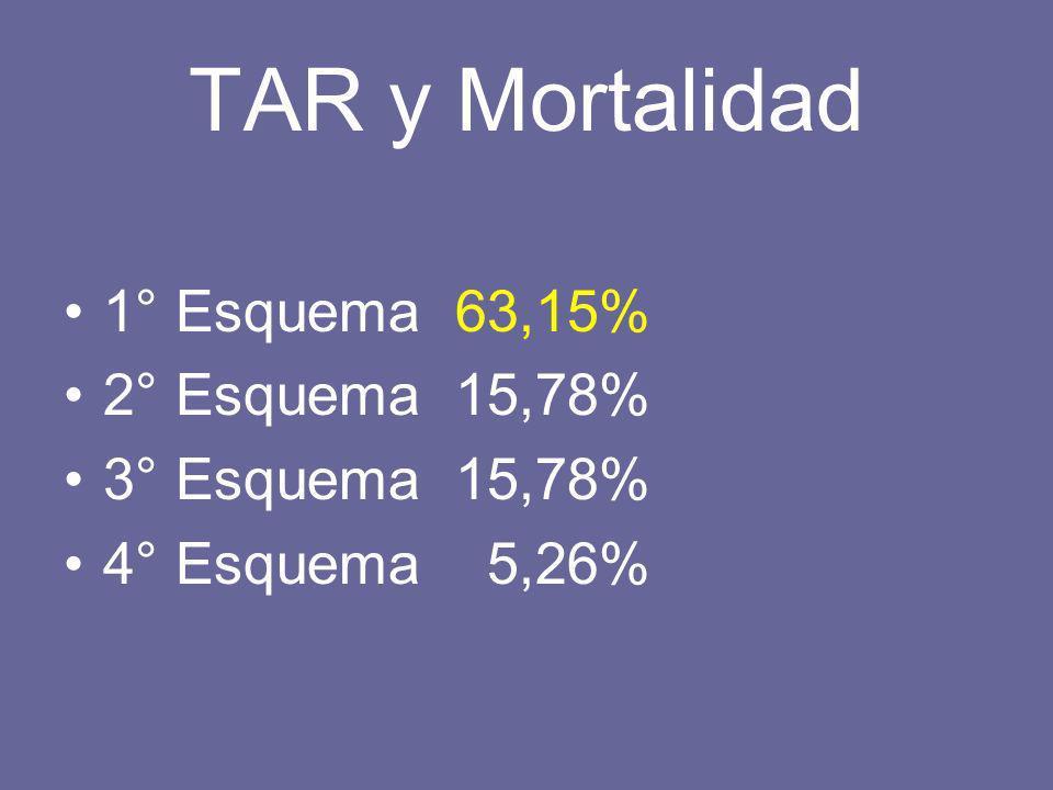 TAR y Mortalidad 1° Esquema 63,15% 2° Esquema 15,78% 3° Esquema 15,78% 4° Esquema 5,26%