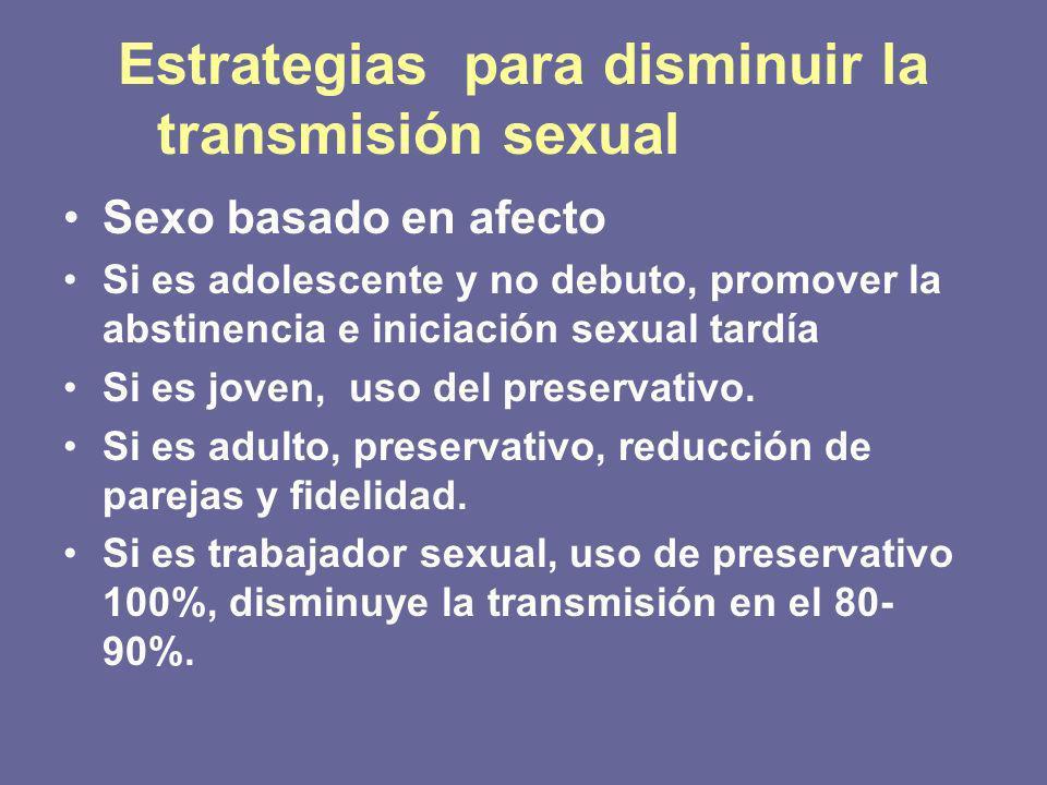 Estrategias para disminuir la transmisión sexual Sexo basado en afecto Si es adolescente y no debuto, promover la abstinencia e iniciación sexual tardía Si es joven, uso del preservativo.