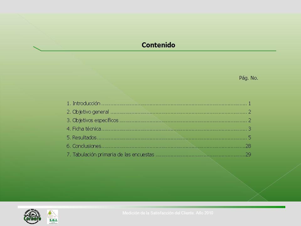 Contenido Pág. No. Medición de la Satisfacción del Cliente. Año 2010