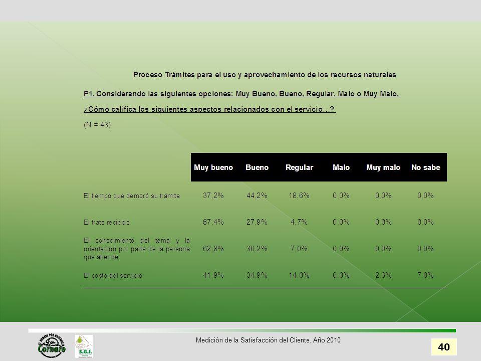 40 Medición de la Satisfacción del Cliente. Año 2010