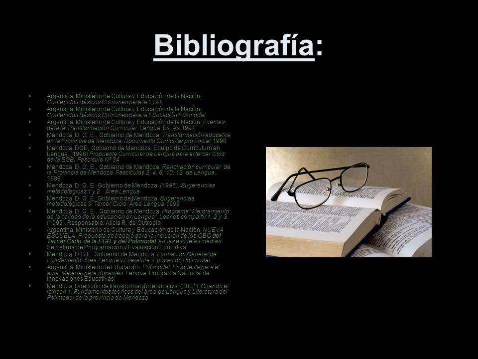 Bibliografía: Argentina.Ministerio de Cultura y Educación de la Nación.