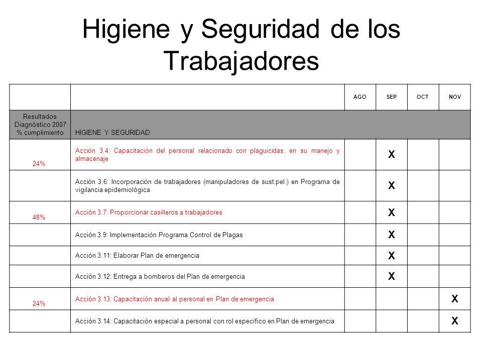 Higiene y Seguridad de los Trabajadores AGOSEPOCTNOV Resultados Diagnóstico 2007 % cumplimientoHIGIENE Y SEGURIDAD 24% Acción 3.4: Capacitación del pe