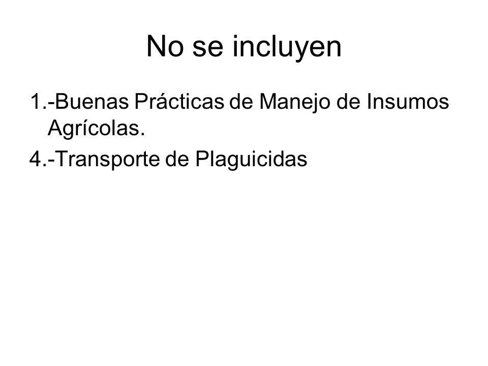 No se incluyen 1.-Buenas Prácticas de Manejo de Insumos Agrícolas. 4.-Transporte de Plaguicidas