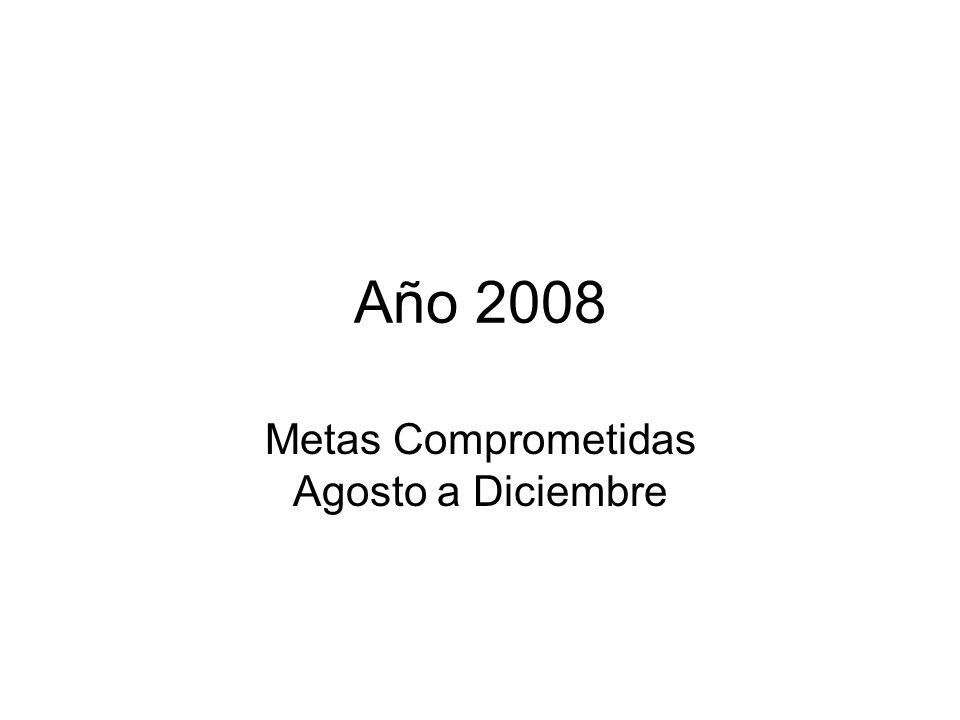Año 2008 Metas Comprometidas Agosto a Diciembre