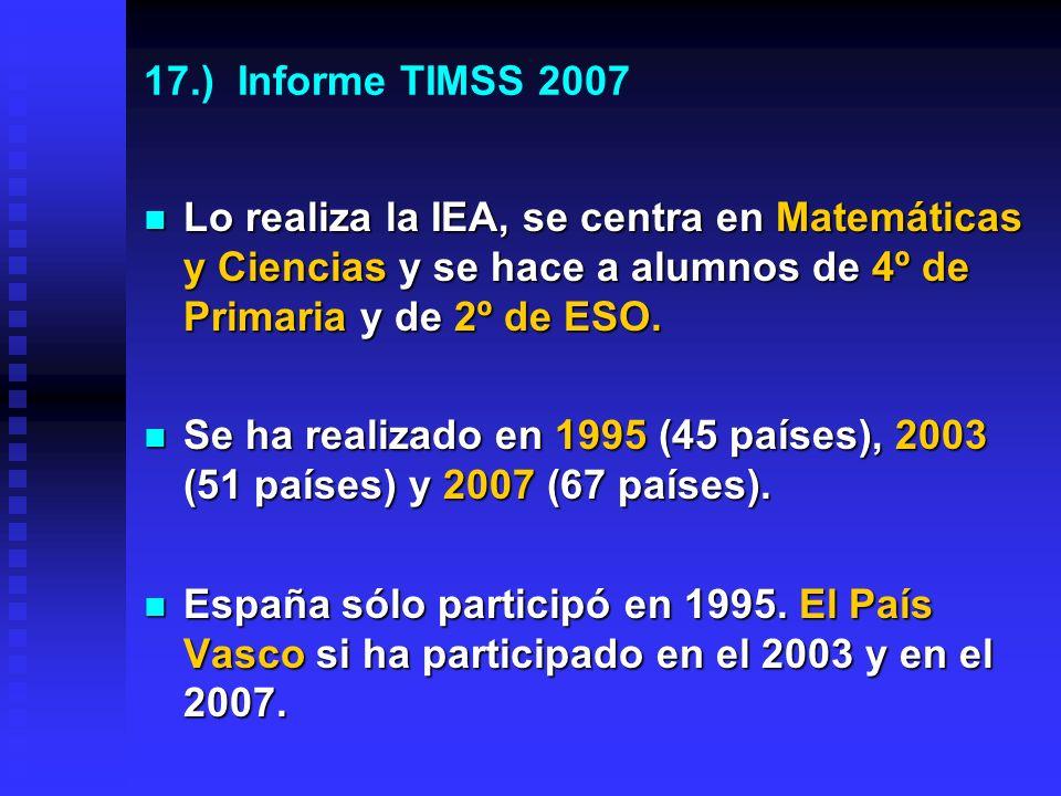 16.) En España algunas CCAA si han mejorado significativamente La Rioja es la mejor en Matemáticas, Ciencias y Comprensión lectora.
