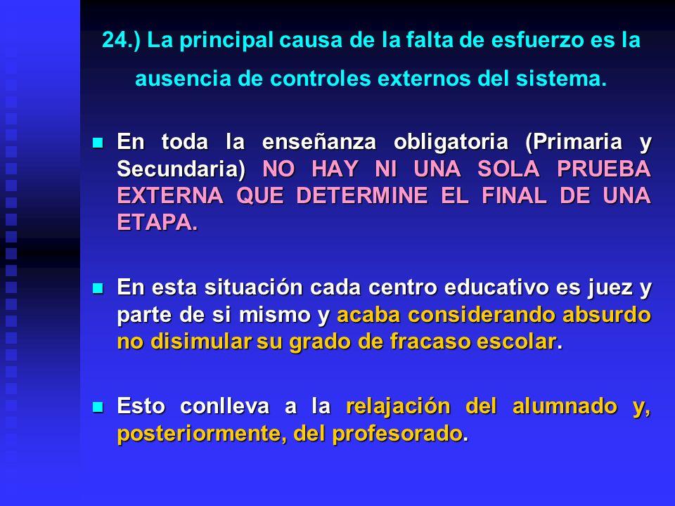 23.) ¿Por que nuestro sistema educativo no permite que nuestros alumnos obtengan mejores resultados? ¿Por una distribución de contenidos incorrecta? N