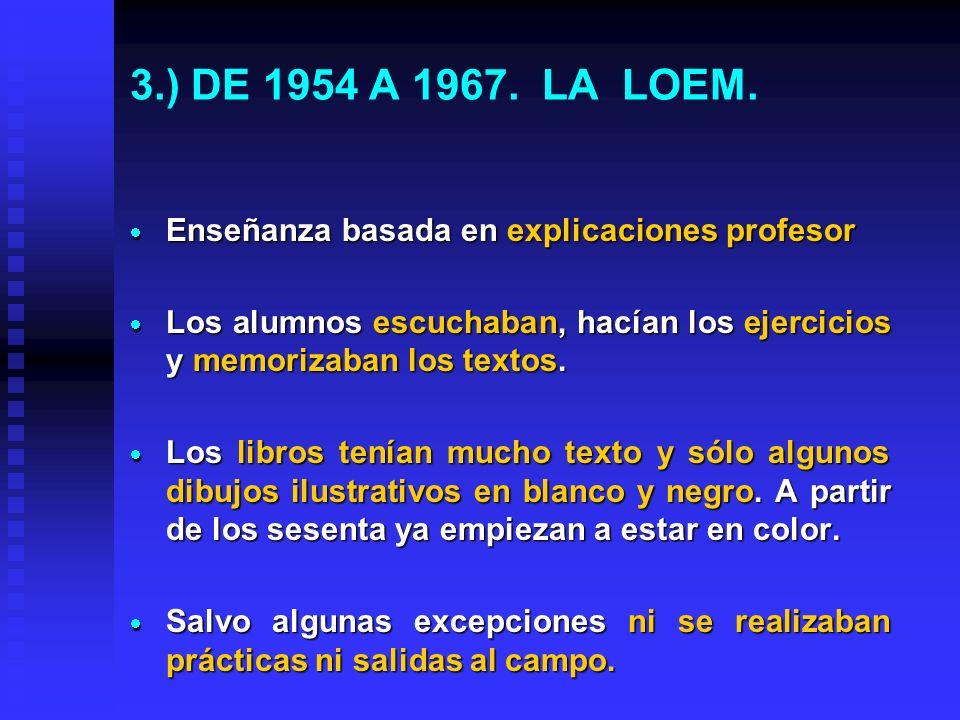 2.) Las leyes influyen en gran medida en la forma de enseñar y de aprender. 1954 a 1967. La LOEM. 1954 a 1967. La LOEM. 1967 a 1970. LEY DEL BACHILL.