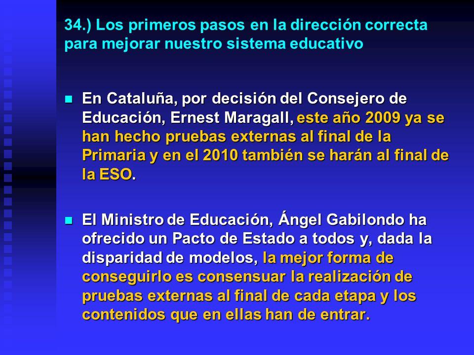 33.) Las pruebas externas se hacen desde hace años en muchos países occidentales Francia: Al finalizar la enseñanza Primaria y al terminar la Secundaria Obligatoria.