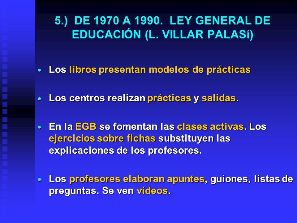 4.) DE 1967 A 1970. LEY DEL BACHILLERATO ELEMENTAL Los libros empiezan a presentar fotografías en color y propuestas de prácticas de laboratorio. Los