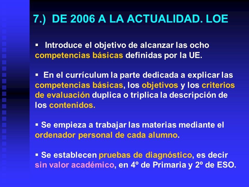 6.) DE 1990 A 2006. LOGSE Enseñanza conjunta, es decir unitaria, hasta los 16 años, incluidos los alumnos con n.e.e. Enseñanza conjunta, es decir unit