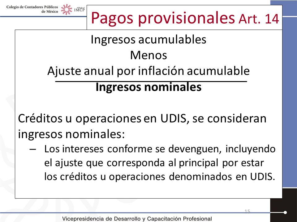 Pagos provisionales Art. 14 Ingresos acumulables Menos Ajuste anual por inflación acumulable Ingresos nominales Créditos u operaciones en UDIS, se con