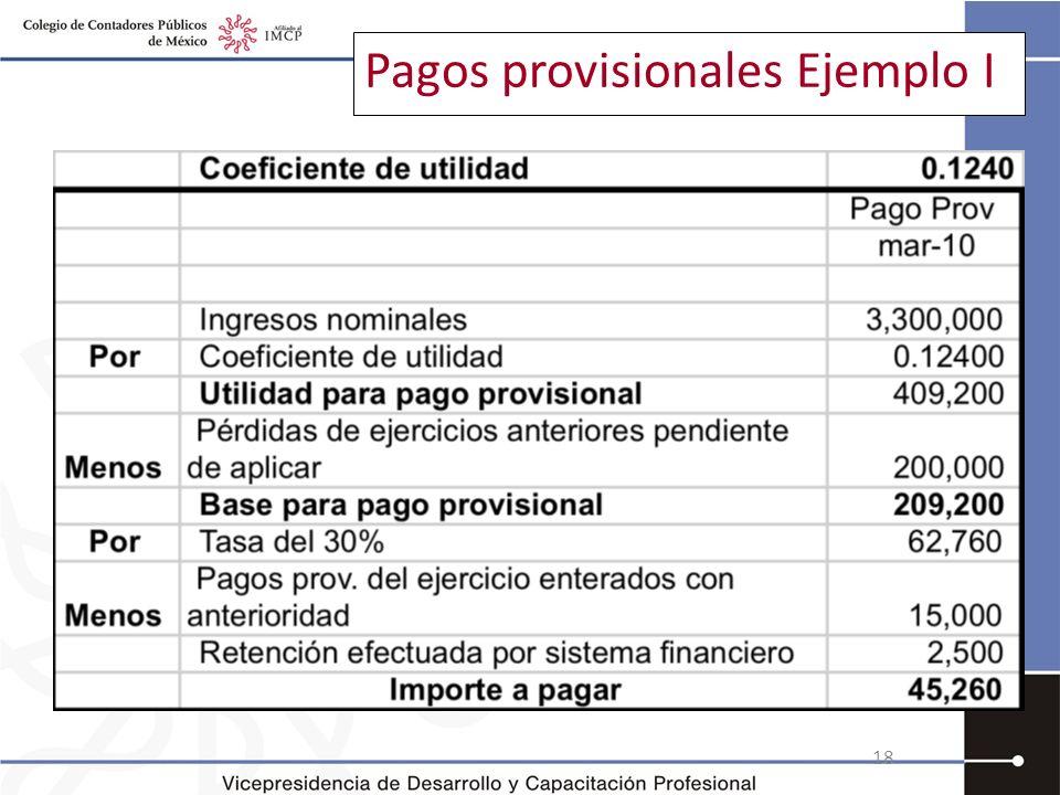 Pagos provisionales Ejemplo I 18