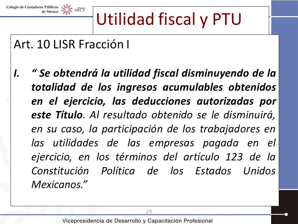 29 Utilidad fiscal y PTU Art. 10 LISR Fracción I I. Se obtendrá la utilidad fiscal disminuyendo de la totalidad de los ingresos acumulables obtenidos