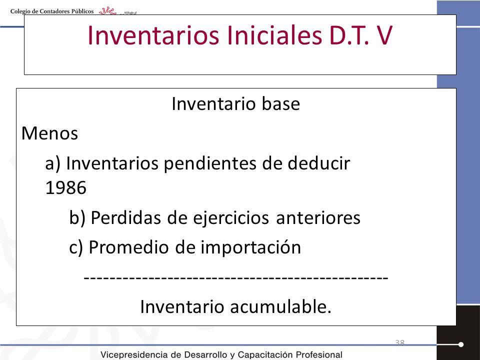 Inventarios Iniciales D.T. V Inventario base Menos a) Inventarios pendientes de deducir 1986 b) Perdidas de ejercicios anteriores c) Promedio de impor