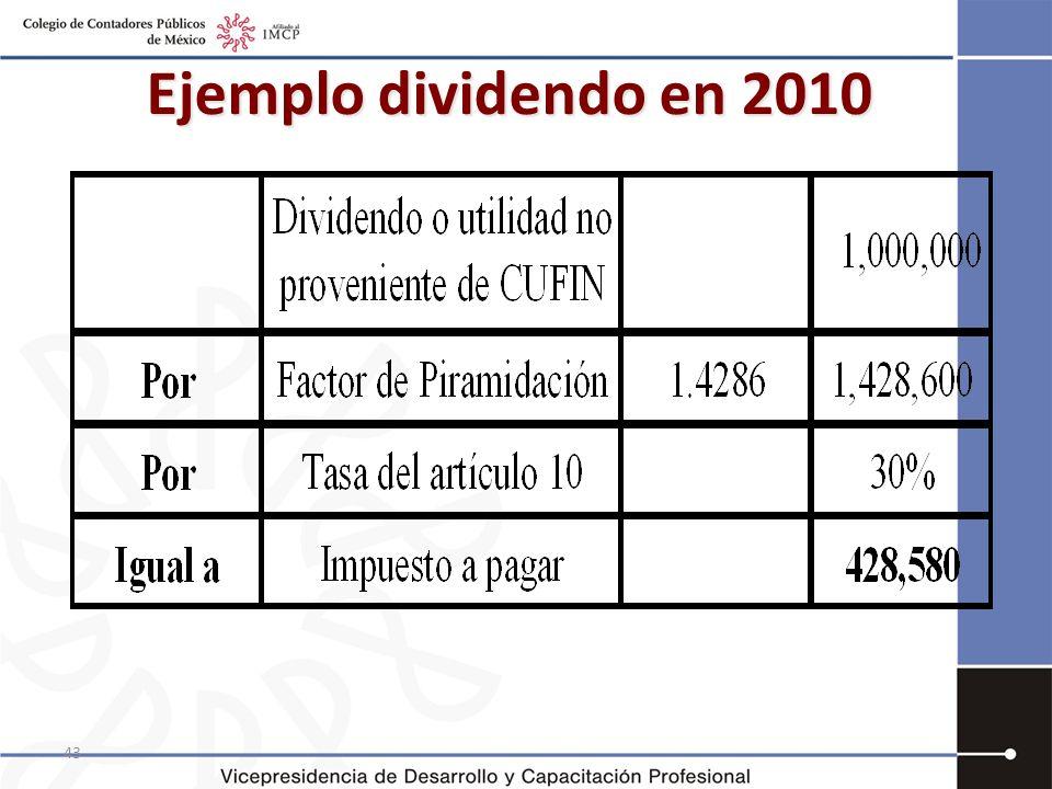 43 Ejemplo dividendo en 2010