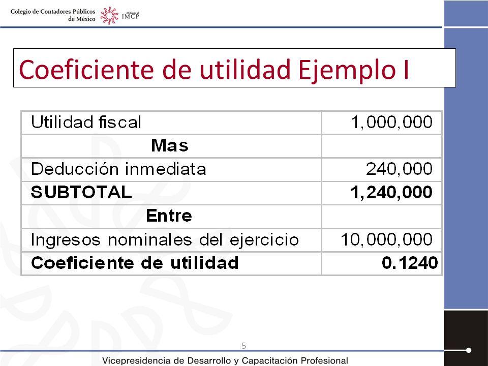 6 Coeficiente de utilidad Ejemplo II