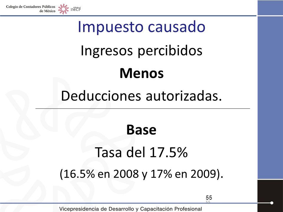 Impuesto causado Ingresos percibidos Menos Deducciones autorizadas. Base Tasa del 17.5% (16.5% en 2008 y 17% en 2009). 55