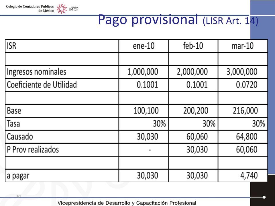 Pago provisional (LISR Art. 14) 67