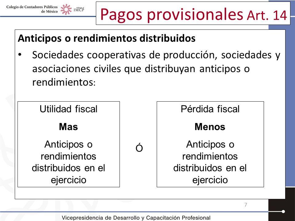 Pagos provisionales Art. 14 Anticipos o rendimientos distribuidos Sociedades cooperativas de producción, sociedades y asociaciones civiles que distrib