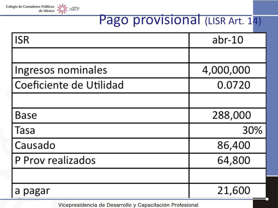 Pago provisional (LISR Art. 14) 70