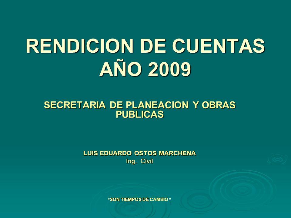 RENDICION DE CUENTAS AÑO 2009 SECRETARIA DE PLANEACION Y OBRAS PUBLICAS LUIS EDUARDO OSTOS MARCHENA Ing.