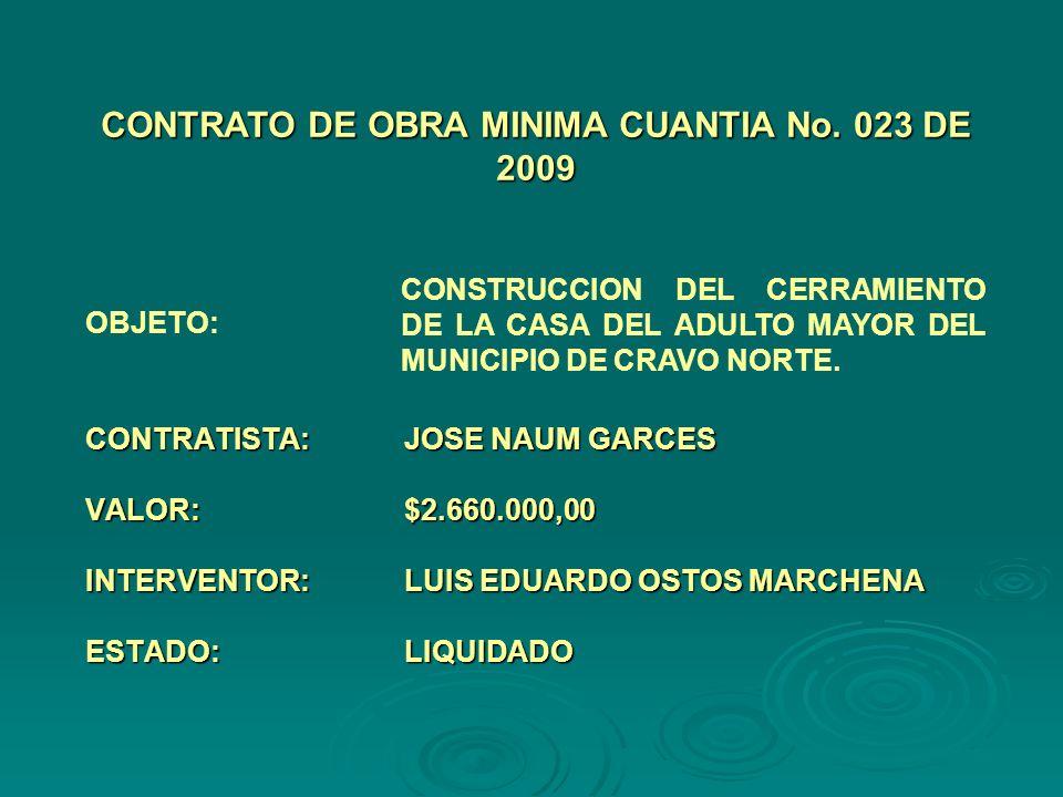 CONTRATISTA:JOSE NAUM GARCES VALOR:$2.660.000,00 INTERVENTOR:LUIS EDUARDO OSTOS MARCHENA ESTADO:LIQUIDADO CONTRATO DE OBRA MINIMA CUANTIA No.