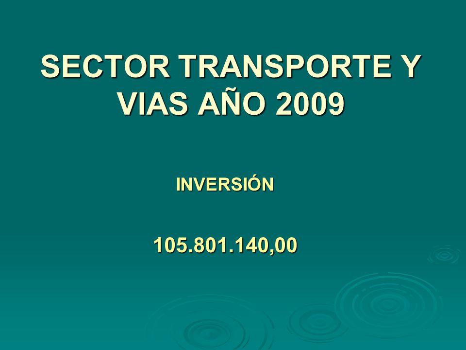 SECTOR TRANSPORTE Y VIAS AÑO 2009 INVERSIÓN105.801.140,00